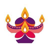 bougies diwali en icône de style plat chaudron décoratif