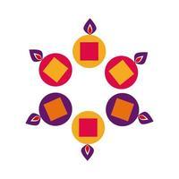bougies diwali dans des chaudrons autour de l'icône de style plat