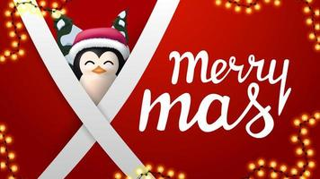 Joyeux Noël, carte postale rouge avec guirlande, lignes blanches diagonales et pingouin en chapeau de père Noël derrière vecteur