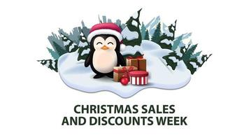 Vente de Noël et semaine de remises, bannière de remise moderne avec pins, dérives, montagne, ville sur horizont et pingouin en chapeau de père Noël avec des cadeaux vecteur