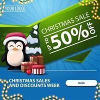 vente de noël et remises semaine, jusqu'à 50 off, bannière web moderne lumineux bleu et vert avec bouton, guirlande et pingouin en chapeau de père noël avec des cadeaux