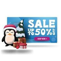 Bannière 3d discount bleu noël avec jusqu'à 50 off, bouton violet et pingouin en chapeau de père noël avec des cadeaux