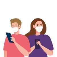 femme et homme avec des masques médicaux tenant la conception de vecteur de smartphone