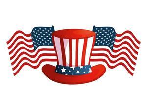 chapeau usa isolé avec conception de vecteur de drapeaux