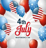 ballons usa de conception de vecteur de fête de l'indépendance