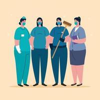 travailleuses avec des uniformes et des masques de travailleurs vector design