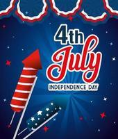 feux d'artifice usa avec bannière de conception de vecteur de fête de l'indépendance