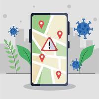 smartphone avec marque gps et conception de vecteur de bannière d'avertissement