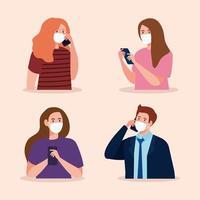 femmes et homme avec masque médical tenant la conception de vecteur de smartphone
