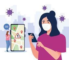 femmes avec des masques tenant la conception de vecteur de smartphone