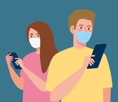 femme et homme avec masque tenant la conception de vecteur de smartphone