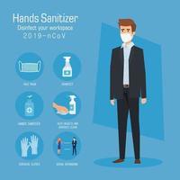 homme d & # 39; affaires avec masque et mains désinfectant conseils de prévention vector design