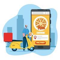 Livreur avec boîte à pizza masque moto et conception de vecteur de smartphone