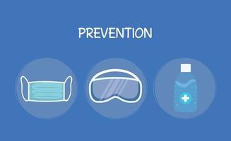 bouteille de désinfectant pour les mains masque médical et lunettes vector design