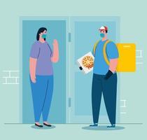 livraison homme et femme client avec masque et conception de vecteur de boîte à pizza