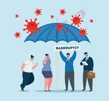 hommes d & # 39; affaires avec des masques et un parapluie de conception de vecteur de faillite