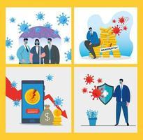 hommes d & # 39; affaires avec masques et jeu d & # 39; icônes de conception de vecteur de faillite