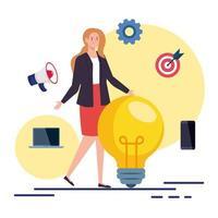 femme avec ampoule et jeu d & # 39; icônes de conception de vecteur de marketing numérique