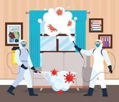 hommes avec combinaison de protection pulvérisant la fenêtre de la maison et le canapé avec la conception de vecteur covid 19