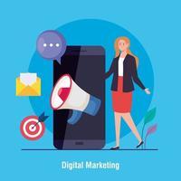 femme avec smartphone et jeu d'icônes de conception de vecteur de marketing numérique
