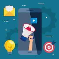 smartphone avec mégaphone et jeu d'icônes de conception de vecteur de marketing numérique