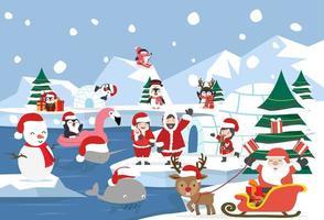 Paysage arctique du pôle nord pendant la période de Noël vecteur