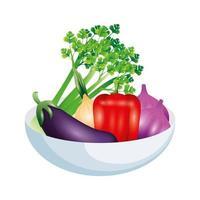 aubergine céleri oignon poivron et ail vector design