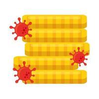 Tour de pièces avec le virus covid 19 de la conception de vecteur de faillite