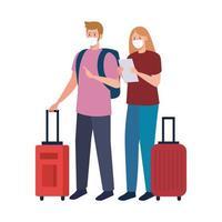 femme et homme avec des masques médicaux et des sacs vector design
