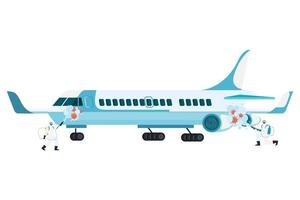 hommes avec combinaison de protection pulvérisant un avion avec la conception de vecteur de virus covid 19