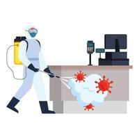 Homme avec combinaison de protection de pulvérisation de caisse enregistreuse de magasin avec conception de vecteur de virus covid 19