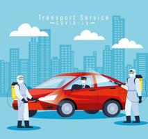 service de désinfection de voiture, prévention coronavirus covid 19, nettoyer les surfaces de la voiture avec un spray désinfectant, les personnes avec une combinaison de risque biologique vecteur