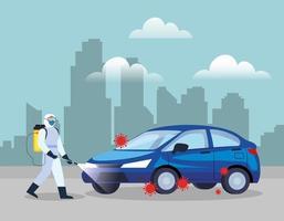 service de désinfection de voiture, prévention coronavirus covid 19, nettoyer les surfaces de la voiture avec un spray désinfectant, personne avec combinaison de risque biologique vecteur