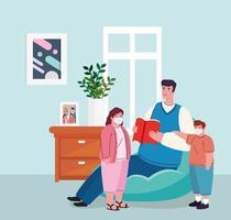 rester à la maison, père avec enfants portant un masque médical dans le salon, mise en quarantaine ou auto-isolement vecteur