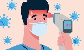 coronavirus covid 19, main tenant un thermomètre infrarouge pour mesurer la température corporelle, contrôle de l'homme à haute température vecteur
