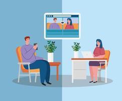 couple se parlent, conférence vidéo, rester à la maison, prévention coronavirus, covid 19 vecteur