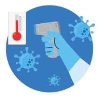 main avec thermomètre infrarouge numérique sans contact, thermomètre médical mesurant la température corporelle, prévention de la maladie à coronavirus 2019 ncov vecteur