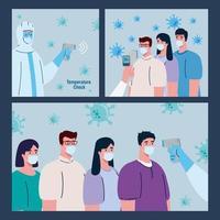 personne avec combinaison de désinfection, avec thermomètre infrarouge numérique sans contact, scènes de jeu vecteur