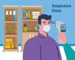 coronavirus covid 19, main tenant un thermomètre infrarouge pour mesurer la température corporelle vecteur