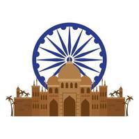 Taj mahal, célèbre monument avec roue ashoka bleu indien vecteur
