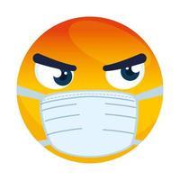 Emoji en colère portant un masque médical, visage rouge en colère à l'aide de l'icône de masque chirurgical blanc vecteur