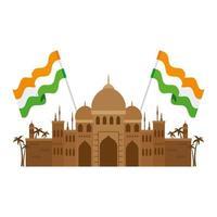Taj mahal, célèbre monument avec des drapeaux de l'Inde vecteur