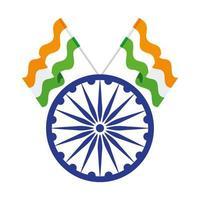 Symbole indien roue ashoka bleu, chakra ashoka avec drapeaux Inde vecteur