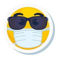 Emoji avec des lunettes de soleil portant un masque médical, visage jaune avec des lunettes de soleil portant un masque chirurgical blanc vecteur
