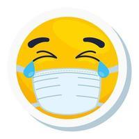 Emoji pleurant portant un masque médical, visage jaune pleurant portant l'icône de masque chirurgical blanc vecteur