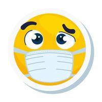 Emoji incrédule portant un masque médical, visage jaune incrédule à l'aide de l'icône de masque chirurgical blanc vecteur