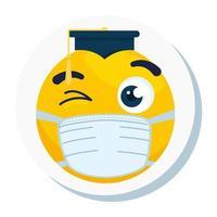 Emoji avec graduation chapeau portant un masque médical, visage jaune avec graduation chapeau portant l'icône de masque chirurgical blanc vecteur
