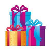 coffrets cadeaux présents sur fond blanc