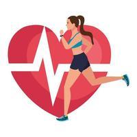 Femme qui court avec le pouls cardiaque sur fond, athlète féminine avec coeur de cardiologie vecteur