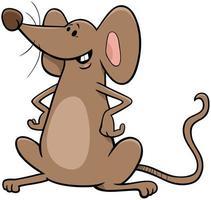 Personnage de dessin animé drôle de souris brune vecteur